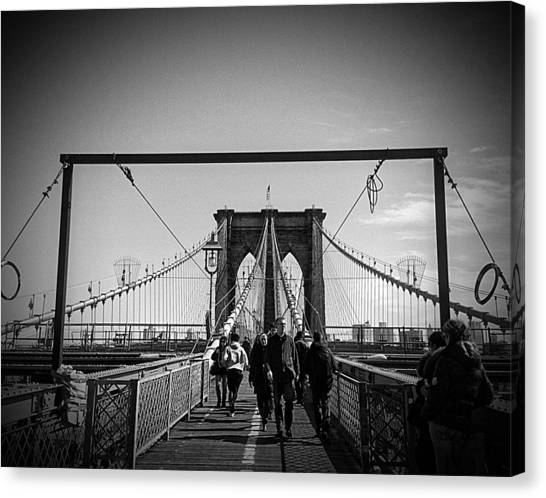 New York City Skyline Canvas Print - Brooklyn Bridge Wide by Freya Doney