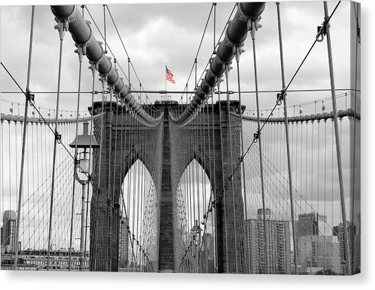 Brooklyn Bridge With American Flag Canvas Print