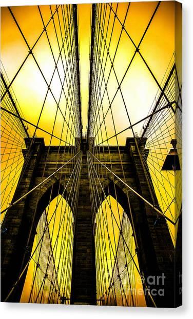 Brooklyn Bridge Canvas Print - Brooklyn Bridge Yellow by Az Jackson