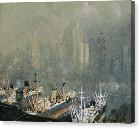 Manhattan Skyline Canvas Print - Brooklyn Harbor Circa 1921  by Aged Pixel