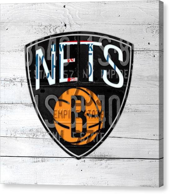 Brooklyn Nets Canvas Print - Brooklyn Nets Basketball Team Retro Logo Vintage Recycled New York License Plate Art by Design Turnpike