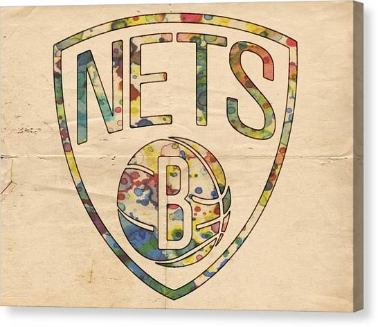 Brooklyn Nets Canvas Print - Brooklyn Nets Logo Art by Florian Rodarte