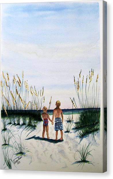 Brother Sister On Beach Sold Canvas Print