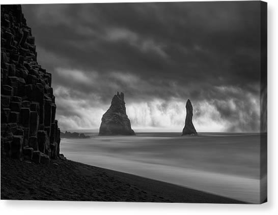 Beach Cliffs Canvas Print - Brothers by Jingshu Zhu