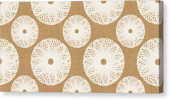 Burlap Canvas Print - Brown And White Floral by Linda Woods