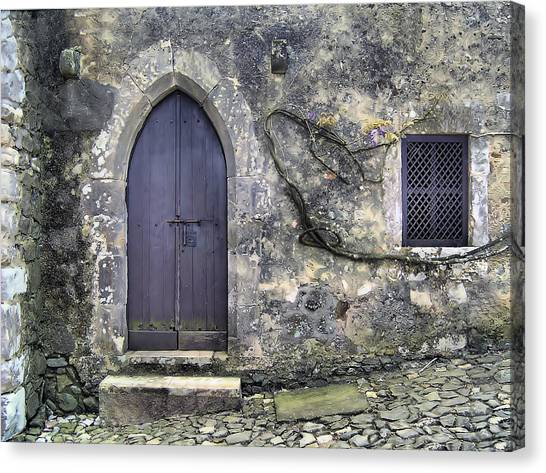 Brown Rustic Wood Door Of Medieval Europe Canvas Print