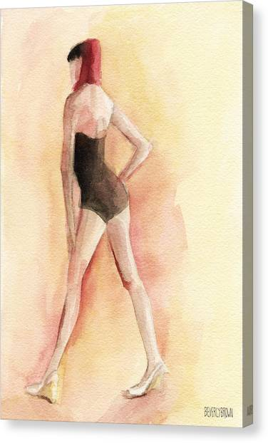 Whimsical Beach Art Canvas Print - Brown Vintage Bathing Suit 1 Fashion Illustration Art Print by Beverly Brown Prints