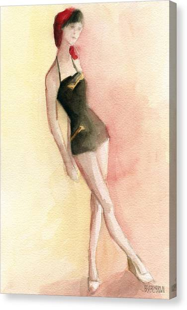 Whimsical Beach Art Canvas Print - Brown Vintage Bathing Suit 2 Fashion Illustration Art Print by Beverly Brown Prints