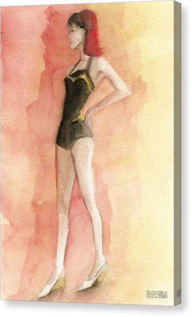 Whimsical Beach Art Canvas Print - Brown Vintage Bathing Suit 3 Fashion Illustration Art Print by Beverly Brown Prints