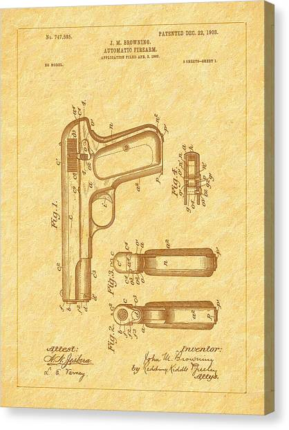 Browning 1903 Automatic Pistol Patent Canvas Print by Barry Jones