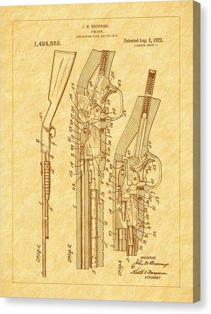 Browning 1922 Firearm Patent Canvas Print by Barry Jones