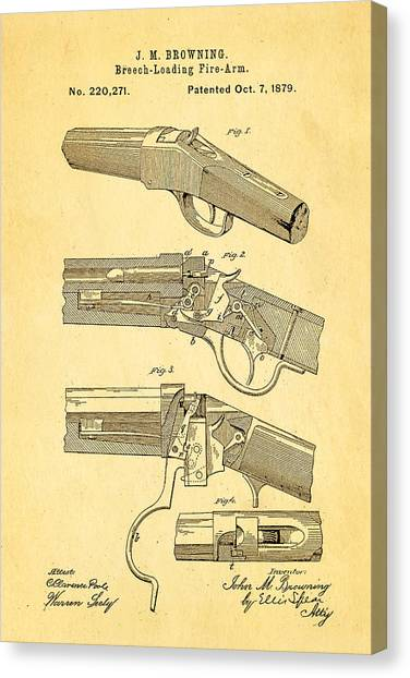 Nra Canvas Print - Browning Breech Loader Patent Art 1879 by Ian Monk