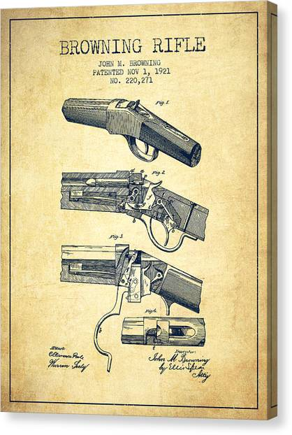 Shotguns Canvas Print - Browning Rifle Patent Drawing From 1921 - Vintage by Aged Pixel