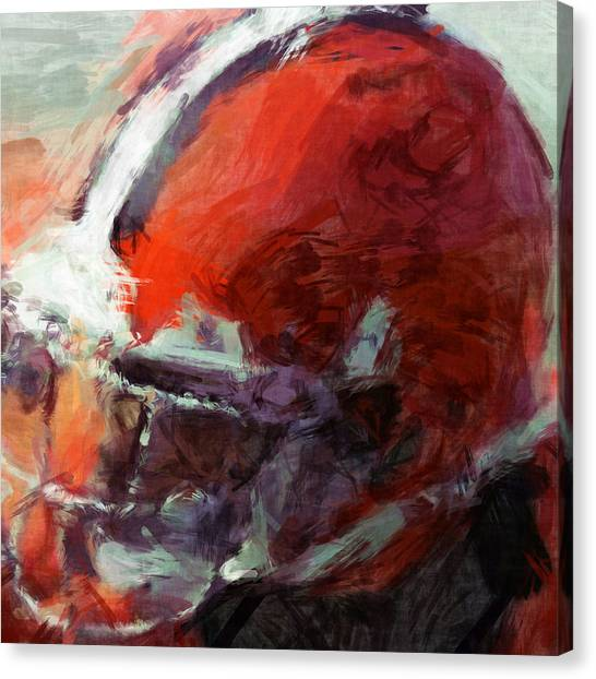 Gridiron Canvas Print - Browns Art Helmet Abstract by David G Paul