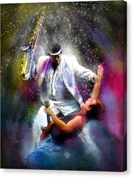 Bruce Springsteen Canvas Print - Bruce Springsteen And Clarence Clemons by Miki De Goodaboom
