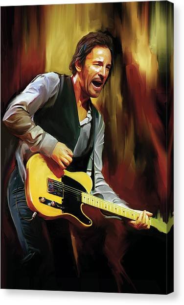 Bruce Springsteen Canvas Print - Bruce Springsteen Artwork by Sheraz A