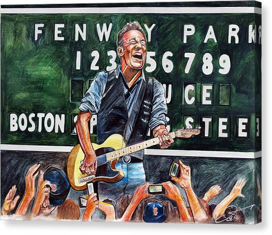 Anniversary Canvas Print - Bruce Springsteen At Fenway Park by Dave Olsen