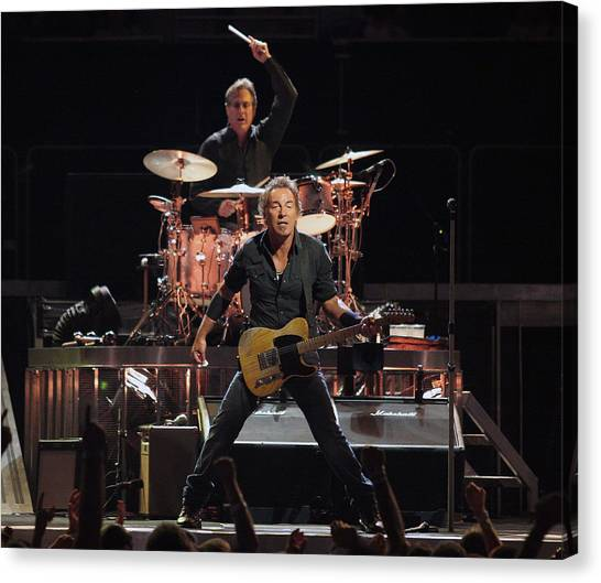 Bruce Springsteen Canvas Print - Bruce Springsteen In Concert by Georgia Fowler