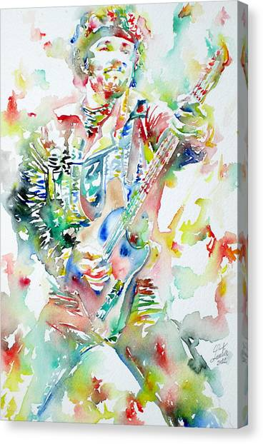 Bruce Springsteen Canvas Print - Bruce Springsteen Playing The Guitar Watercolor Portrait by Fabrizio Cassetta