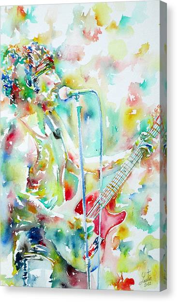 Bruce Springsteen Canvas Print - Bruce Springsteen Playing The Guitar Watercolor Portrait.1 by Fabrizio Cassetta