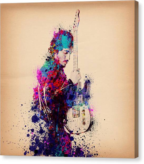 Music Canvas Print - Bruce Springsteen Splats And Guitar by Bekim Art