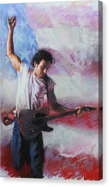 Bruce Springsteen Canvas Print - Bruce Springsteen The Boss by Viola El