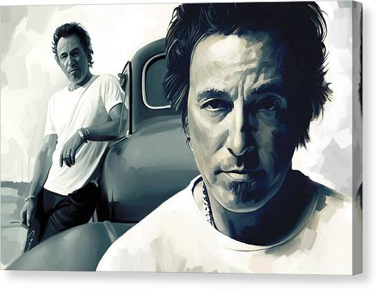 Bruce Springsteen Canvas Print - Bruce Springsteen The Boss Artwork 1 by Sheraz A