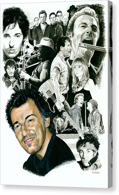 Bruce Springsteen Canvas Print - Bruce Springsteen Through The Years by Ken Branch