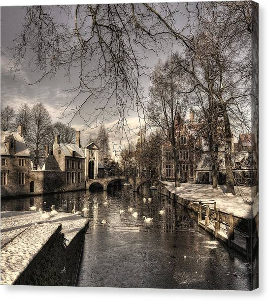 Historic House Canvas Print - Bruges In Christmas Dress by Yvette Depaepe