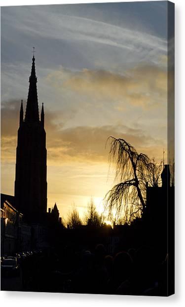 Brugges Sunset Canvas Print by Stephen Richards