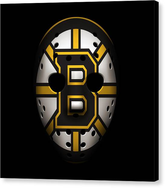Boston Bruins Canvas Print - Bruins Goalie Mask by Joe Hamilton