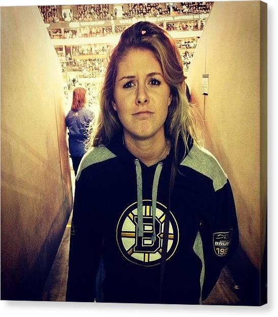 Hockey Teams Canvas Print - #bruins #happy #bs #blackandyellow by Lisa Murphy