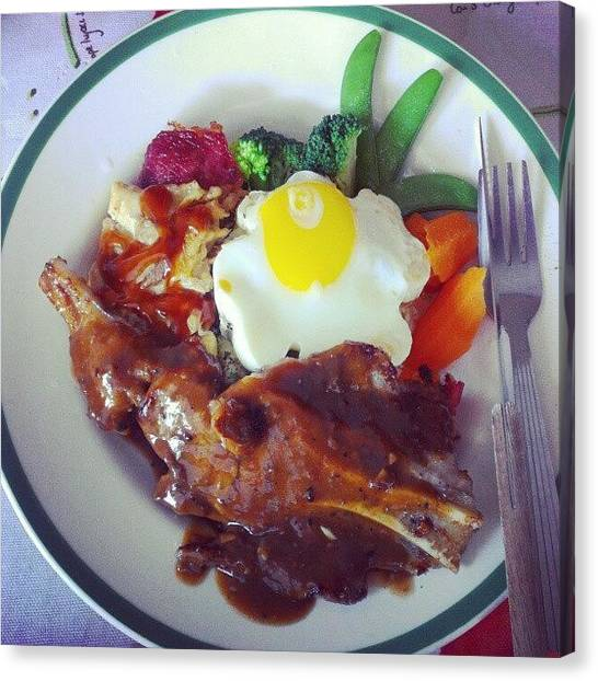 Bacon Canvas Print - Brunch.. Mix Grill ^^ #lamb #bacon by Mun yee Boey