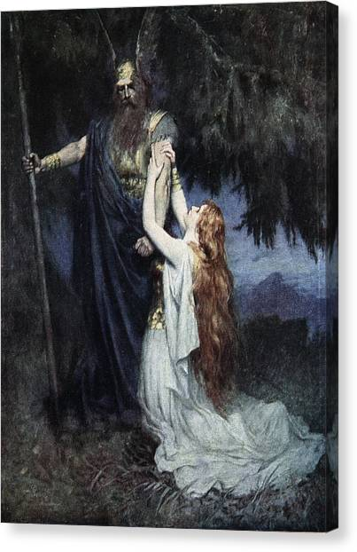 Mercy Canvas Print - Brunhilde Knelt At His Feet, From The by Ferdinand Leeke