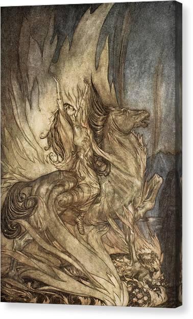 God Canvas Print - Brunnhilde On Grane Leaps by Arthur Rackham