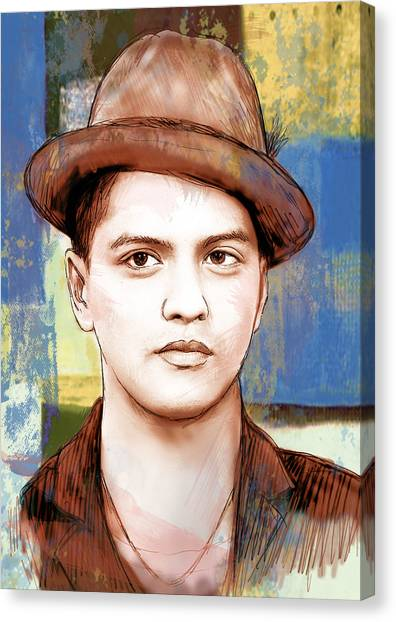 Bruno Mars - Stylised Drawing Art Poster Canvas Print by Kim Wang