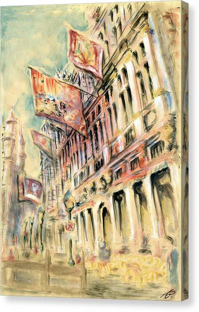 Brussels Grand Place - Watercolor Canvas Print