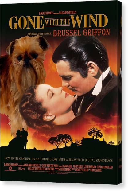 Gone With The Wind Canvas Print - Brussels Griffon Art - Gone With The Wind Movie Poster by Sandra Sij