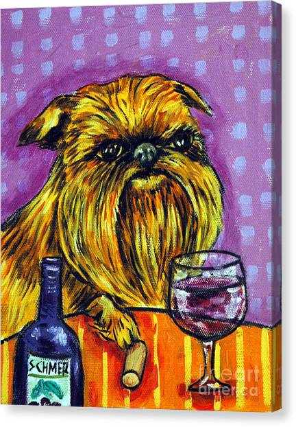 Griffons Canvas Print - Brussels Griffon At The Wine Bar by Jay  Schmetz