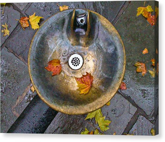 Bryant Park Fountain In Autumn Canvas Print