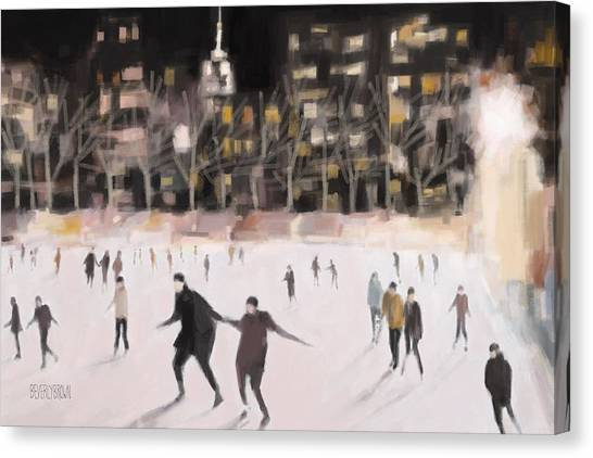 Ice Skating Canvas Print - Bryant Park Ice Skaters New York At Night by Beverly Brown Prints