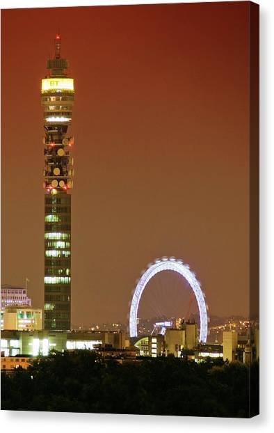 London Eye Canvas Print - Bt Tower And The London Eye by Gustoimages/science Photo Library