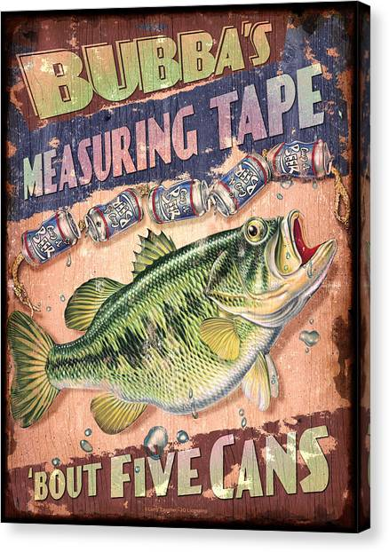 Bass Fishing Canvas Print - Bubba Measuring Tape by JQ Licensing