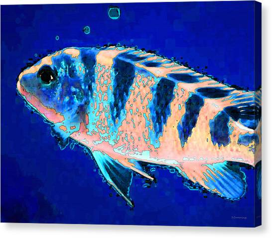 Fish Tanks Canvas Print - Bubbles - Fish Art By Sharon Cummings by Sharon Cummings
