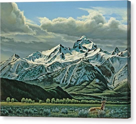 Tetons Canvas Print - Buck Mountain From Antelope Flat by Paul Krapf