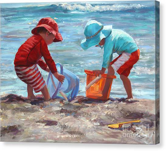 Boy And Girl Canvas Print - Buckets Of Fun by Laurie Hein