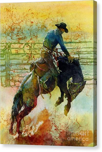 Cowboys Canvas Print - Bucking Rhythm by Hailey E Herrera