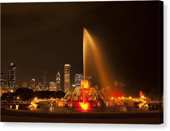Chicago Skyline Art Canvas Print - Buckingham Fountain Illuminated by Andrew Soundarajan