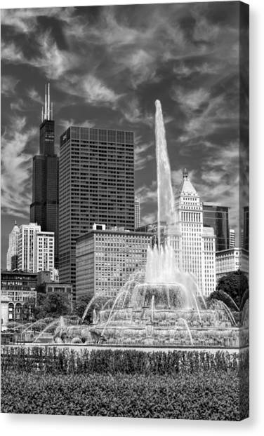 Big Red Canvas Print - Buckingham Fountain Sears Tower Black And White by Christopher Arndt