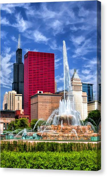 Buckingham Fountain Sears Tower Canvas Print